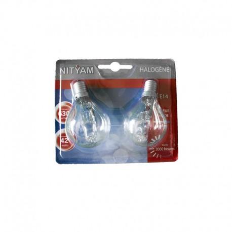 Pack de 2 ampoules éco-halogènes E14 42 Watts 230 Volts - NITYAM 304