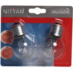 Pack de 2 ampoules éco-halogènes E27 42 Watts 230 Volts - NITYAM 307