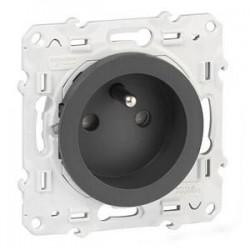 Prise 2P+T anthracite (couleur noir) Odace - SCHNEIDER ELECTRIC
