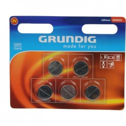 Pack de 5 piles CR 2025 | 3 Volts - GRUNDIG